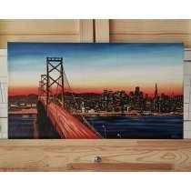 """Городской закат """"San-Francisco"""". Холст, маслом. 28×50см, в г.Костанай"""