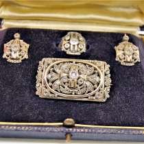 Антикварный набор из золота и серебра с бриллиантами, в Москве