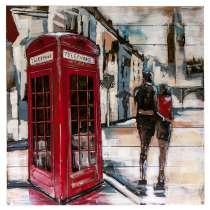 Картина деревянная с металлом L18B66 Телефонная будка 80х80 см., в Москве