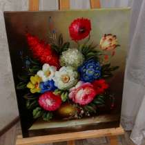 Цветочная фантазия, 50х60см, Картина маслом на холсте, в Москве