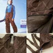 Стильные лыжные для мальчика штаны -полукомбинезон в клетку, в Москве