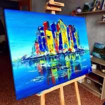 Картина маслом на холсте «Город», в Москве