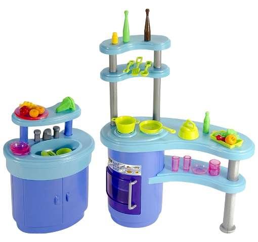 Кухня со стойкой, посудой и продуктами для Барби
