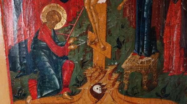 Старинный храмовый образ «Снятие с креста». Россия, XIX век в Санкт-Петербурге фото 10
