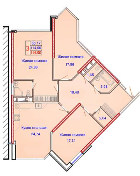 Трехкомнатная квартира бизнес-класса 114 кв. м.