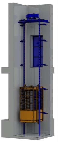 Грузовой подъемник в кирпичную шахту.