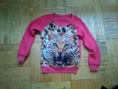 Свитшот кофта свитер яркий розовый тигр леопард