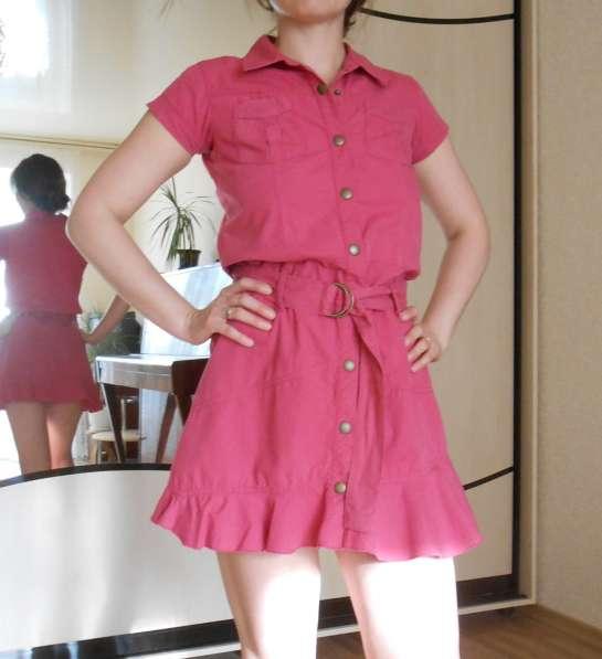 Платье коттоновое, розовое, рост 140-160 см