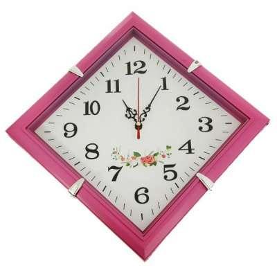 Часы настенные ромб, розовая рама,