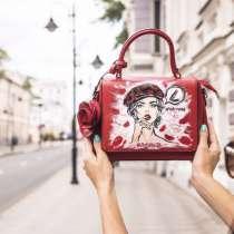 Красная сумочка с ручной росписью #наСтиле, в Москве