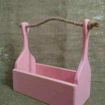Деревянный ящик - корзинка розовый, в г.Минск