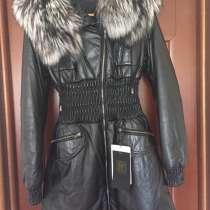 Пуховик новый Fashion Furs Италия кожа чернобурка размер 46, в Москве