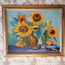 Картина маслом Подсолнухи в вазе (натюрморт) живопись масло, в Москве