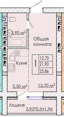 Продаю студию 23,86 кв. м, в Краснодаре