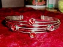Винтажный серебренный браслет с камнями, в Иванове