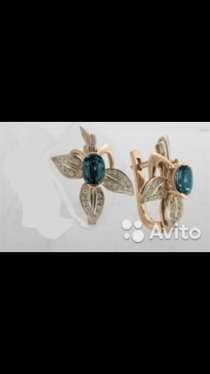 Золотые серьги с бриллиантами и топазами, новые, в Санкт-Петербурге
