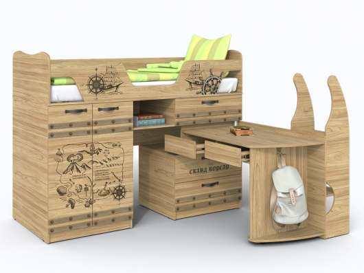 Кровать чердак с выдвижным столом