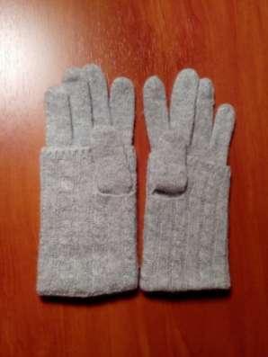 Перчатки серые, трикотажные