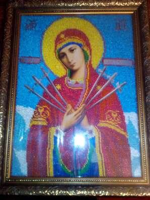 Продаётся вышитый бисером образ пресвятой Богородицы в г. Симферополь Фото 2