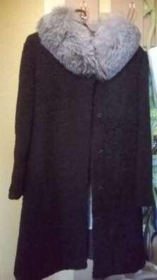 Шуба каракуль, воротник песец,46-48раз