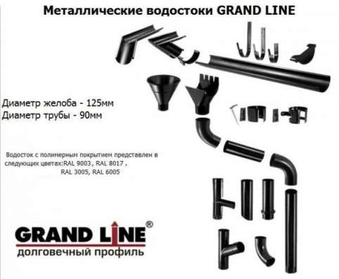 Металлическая водосточная система Grand Line® 125x90 в Екатеринбурге Фото 1