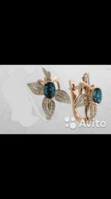 Золотые серьги с бриллиантами и топазами, новые