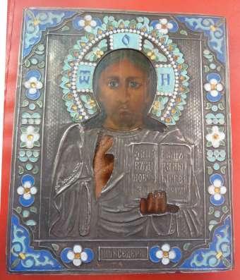 Икона Господь Вседержитель оклад серебро эмаль в Орле Фото 2