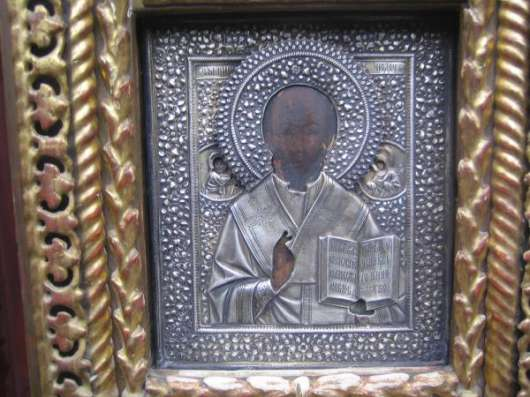 Старинный иконостас-Триптих-,оклады-серебро 84*,XIXв в Москве Фото 2