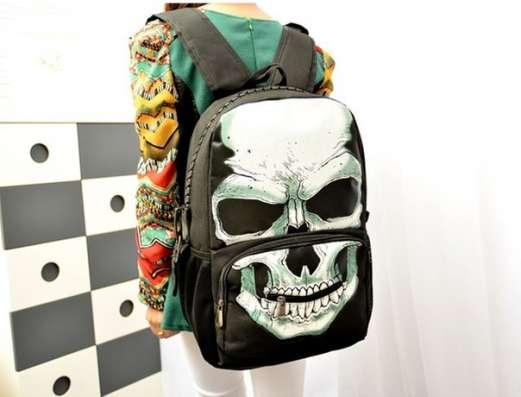 Рюкзак черный белый череп