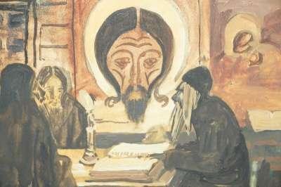 Бучкин П.Д., акварель «В монастыре».1916 в Санкт-Петербурге Фото 2