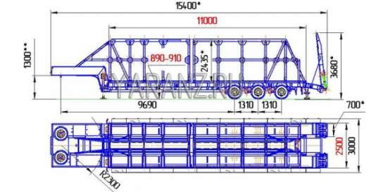 Панелевоз на базе трала 40 тонн, 11 метров со съемной фермой для перевозки панелей. в Челябинске Фото 2