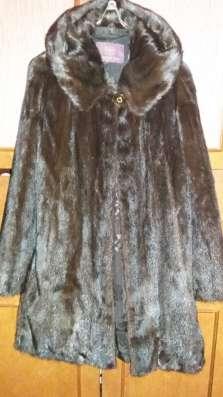 Шуба норковая с капюшоном 44-48р, коричневая, до колена в г. Усть-Каменогорск Фото 1